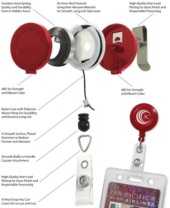 buy retractable id badge reels